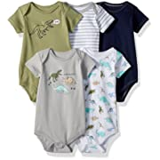 Hudson Baby Baby Cotton Bodysuits, Dinosaurs 5 Pack, 3-6 Months (6M)