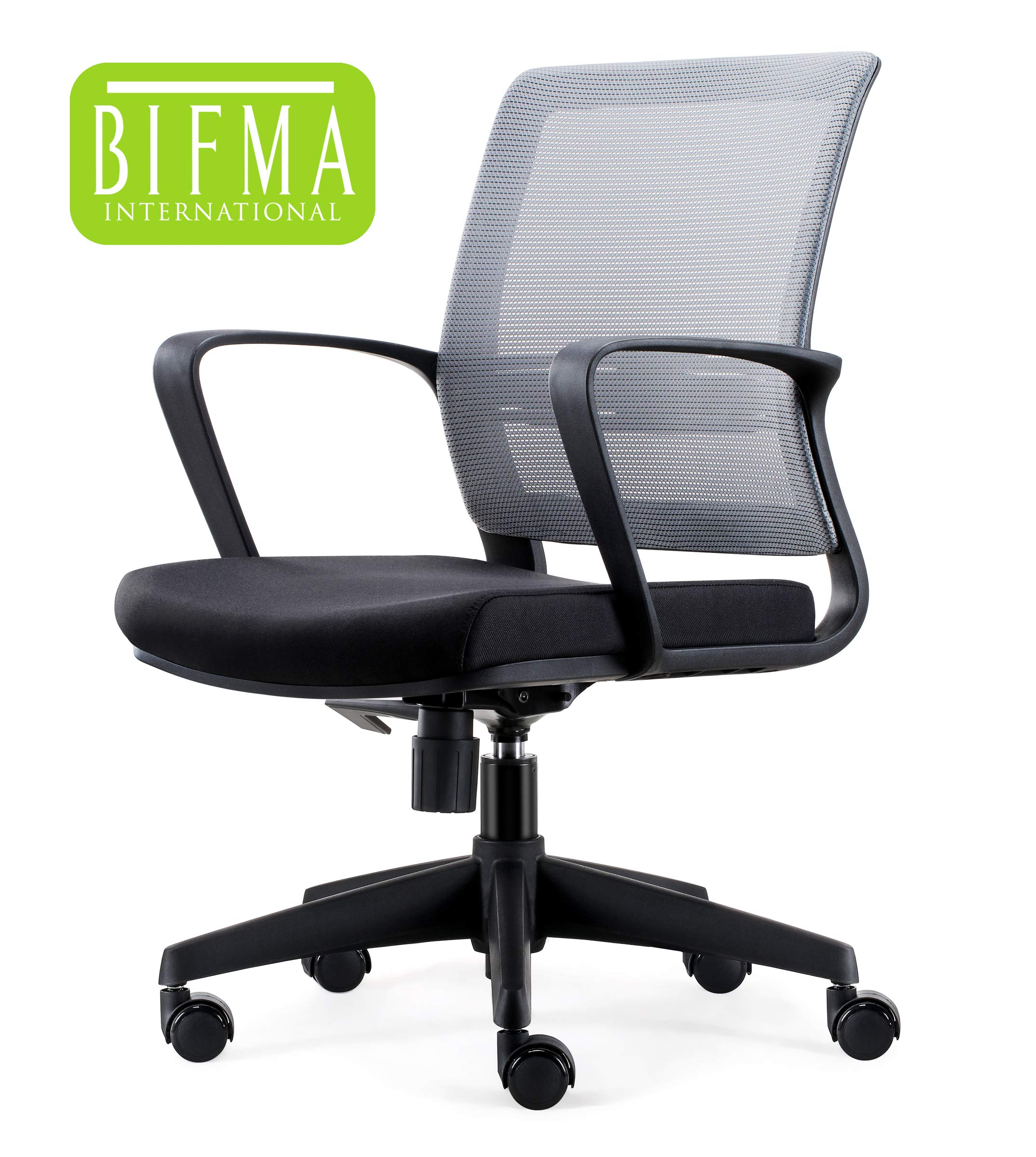 Chairlin Mid-Back Office Chair Conference Task Chair Ergonomic Desk Chair Adjustable Swivel Chair Black