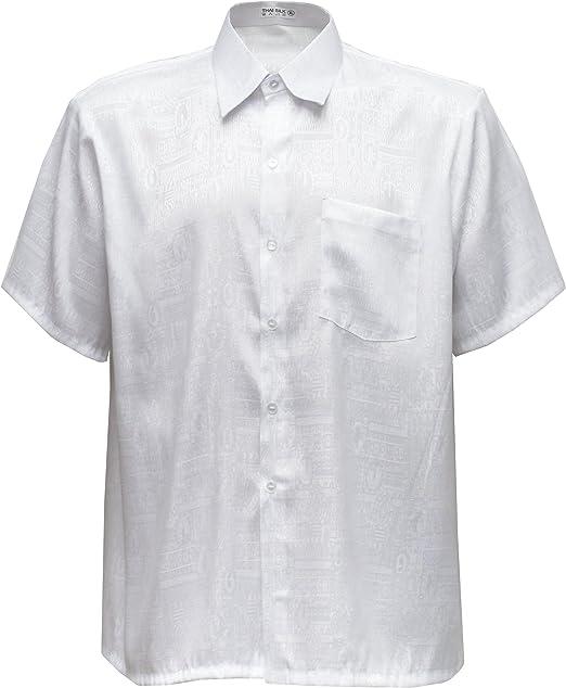 Camisa para hombre de manga corta de seda tailandesa de tela jacquard color blanca, Blanco, Large: Amazon.es: Hogar