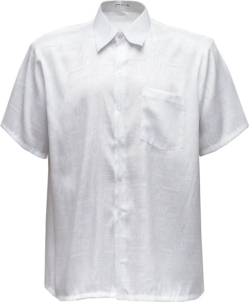 Thai Silk - Camisa Casual - Paisley - con Botones - para Hombre Blanco Blanco Small: Amazon.es: Ropa y accesorios
