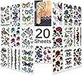 Tatouages temporaires multicolore imperméable de Lady up®, style mixte fleurs, roses, papillons etc pour les feuilles femmes et les enfants (Série 1)