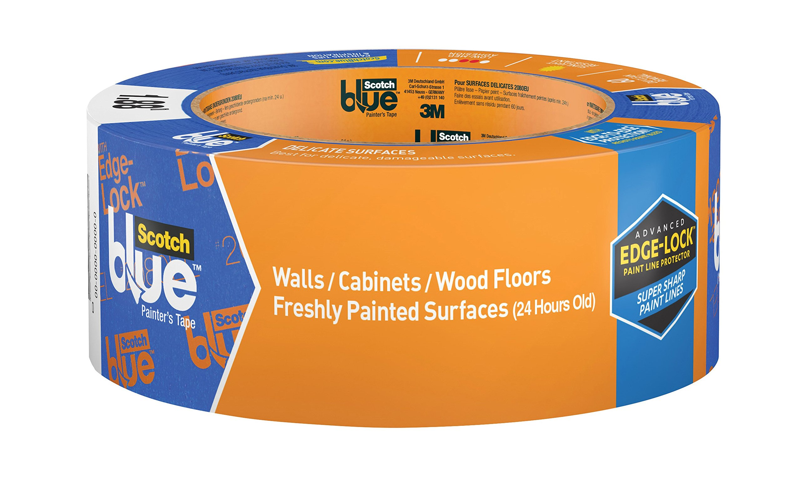 ScotchBlue WALLS + WOOD FLOORS Painter's Tape, 1.88-Inch x 60-Yards, 12 Rolls