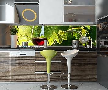 Cocina Pared Trasera Copa con Vino Tinto en viñedo Design M0830 210 x 50 cm (W ...