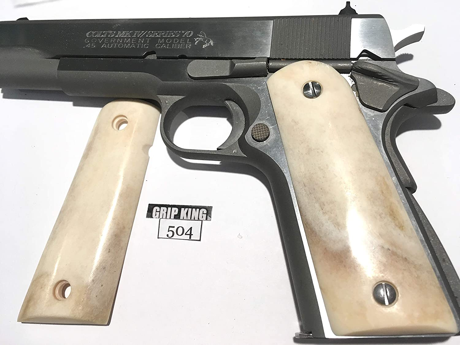 1911 GRIPS GENUINE BUFFALO BONE #504. FITS COLT,SPRINGFIELD,KIMBER,RUGER,TAURUS,SIG,PARA,WILSON.REMINGTON,ITHACA,ACE,S&W,R.I. RANDAL,CLONES. SALE $39.88