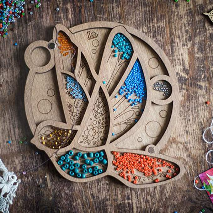 Beadwork Box Jewelry Making Gift Bead Organizer with Needle Magnet case for Beads Container for Beads Bead Tray Wood Cactus Ornament
