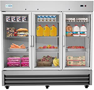 "KoolMore 81"" 3 Glass Door Commercial Reach-in Refrigerator Cooler with LED Lighting - 72 cu. ft"