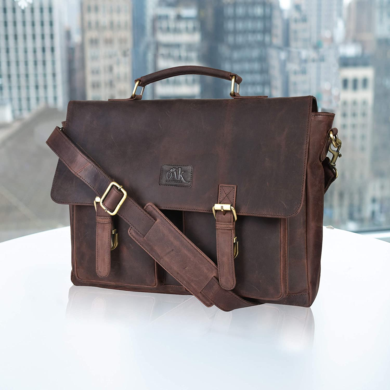 Laptop-Bag for Men and Women-Real Leather Messenger Bag Fits 18-Inch Laptop