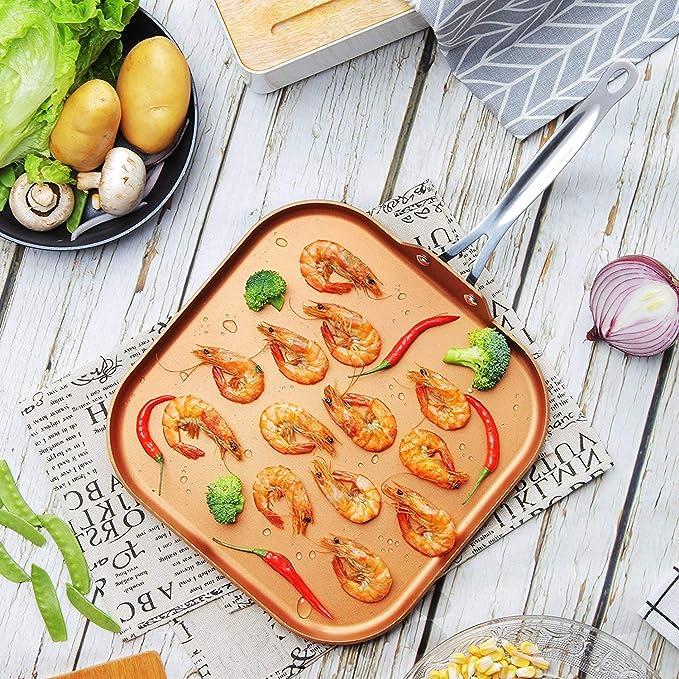 Cooksmart - Sartén de cobre antiadherente (28 cm, con mango de acero inoxidable, apta para horno): Amazon.es: Hogar