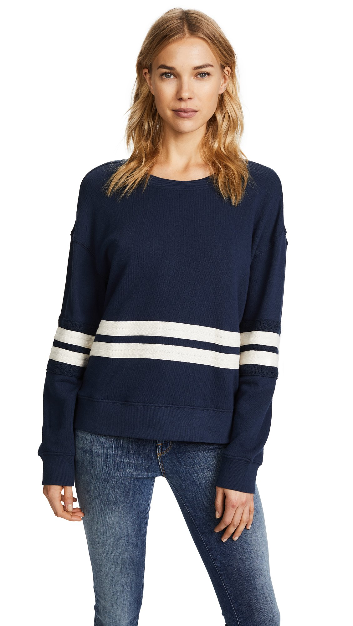 Splendid Women's Seabrook Active Pullover, Navy/Off White, XS