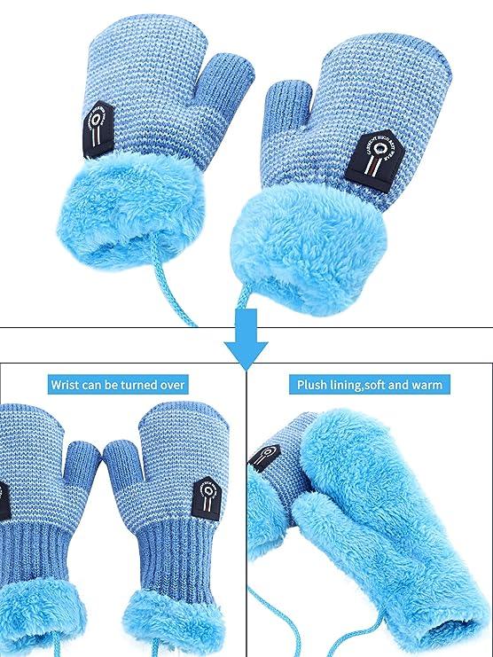 Zhanmai 3 Paar Kleinkind Winter Handschuhe Handschuhe Baby Jungen M/ädchen Warme Handschuhe Infant Verdicken Strick Handschuhe Kinder Handschuhe