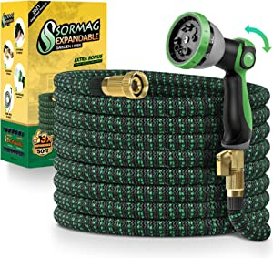 SORMAG Expandable Garden Hose 50ft, Flexible Expanding Water Hose, Leakproof No Kink Lightweight Hoses with 10 Function Nozzle, Durable Collapsible Outdoor Watering Hose for Yard Lawn