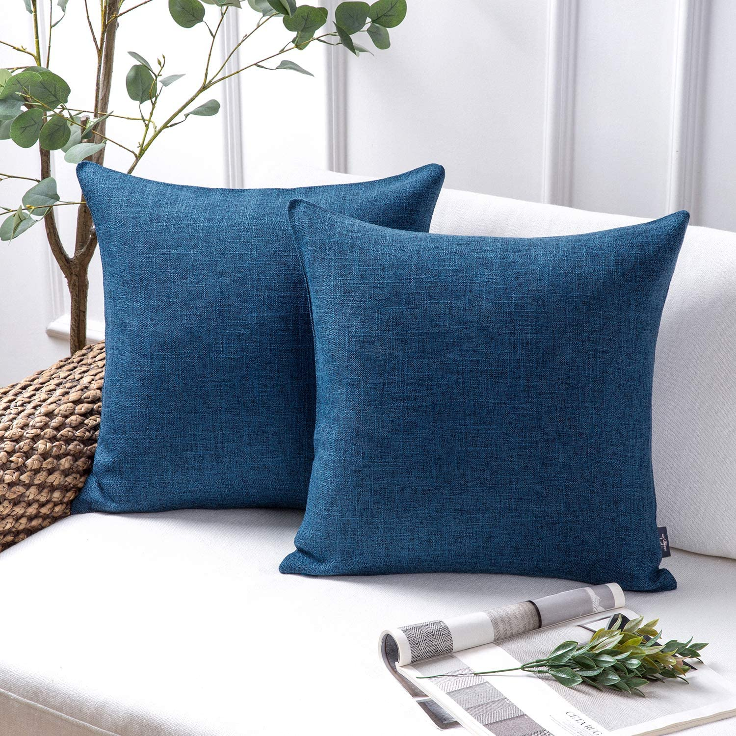 Phantoscope Throw Pillow Cover Textured Faux Linen Series Decorative Cushion Covers for Home Decor Sofa Pack of 2, Navy Blue 18 x 18 inches 45 x 45 cm