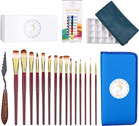 Juego de pinceles para pintar con mango de madera y estuche, juego de 12 pinturas acrílicas, cuchillos de pintura, paleta de pintura en caja de regalo: Amazon.es: Juguetes y juegos