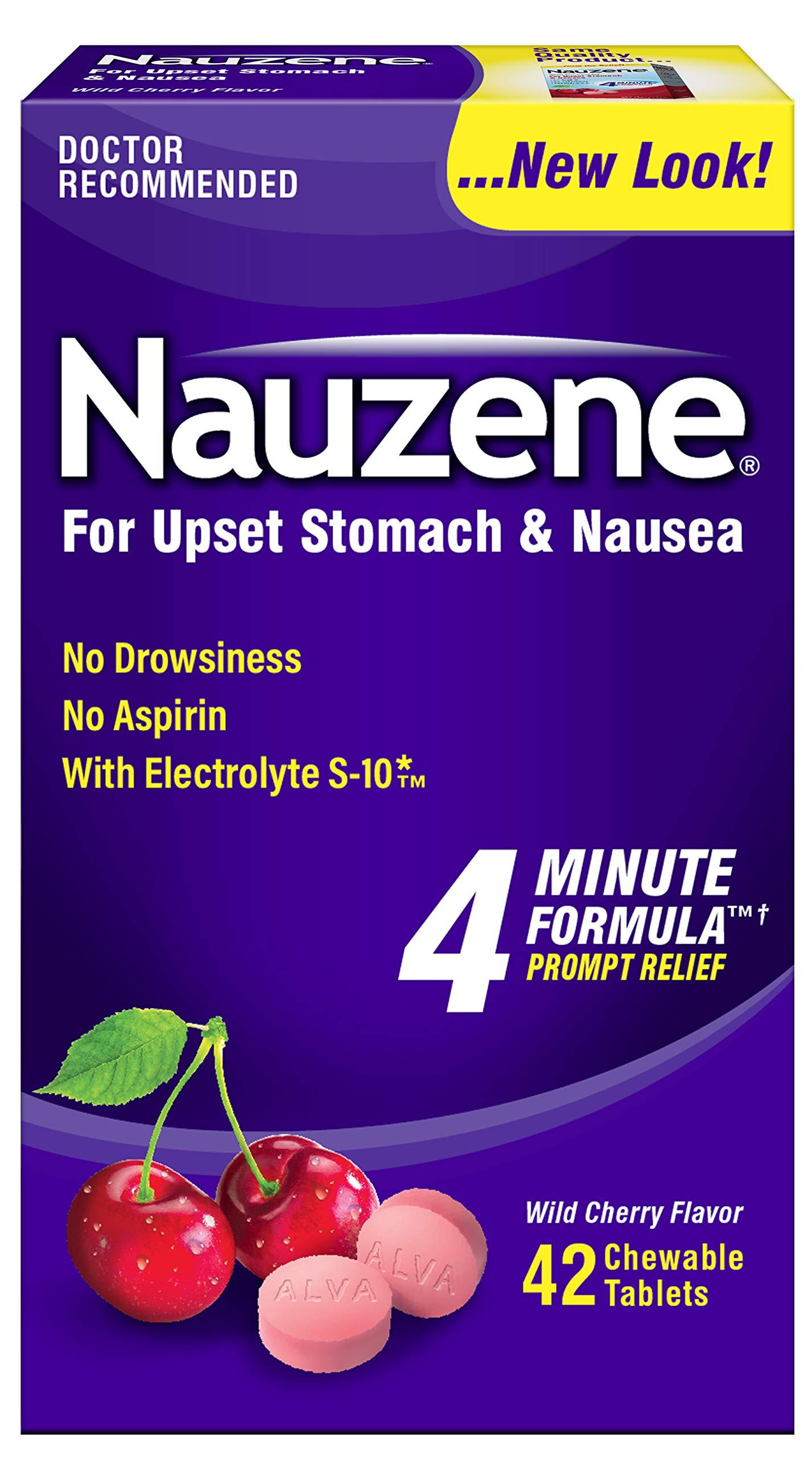 Nauzene Upset Stomach & Nausea Chewable Tablets Wild Cherry Flavor - 42 ct, Pack of 6 by Nauzene