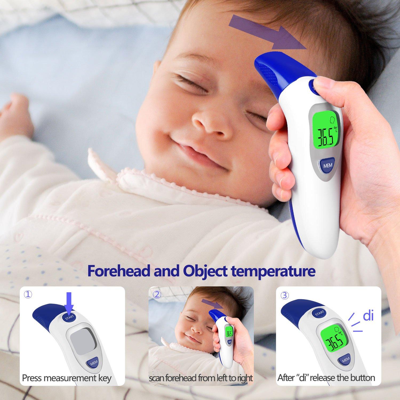 Termómetro Digital Frente y Oído,Termómetro Infrarrojo Médico apto Pare Bebés,Niños y Adultos,Alarma De Fiebre y Adultos con Certifica FDA CE(Batería ...