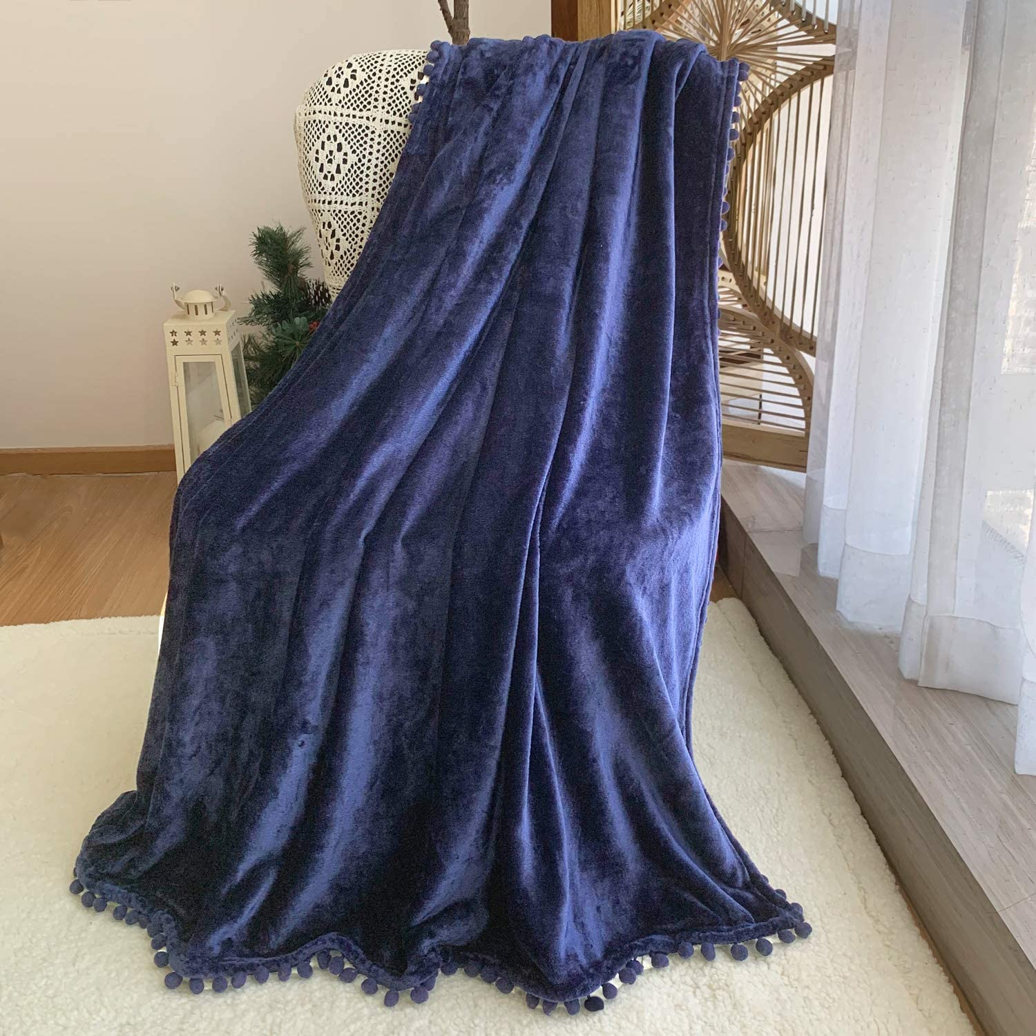 FANSIY Flannel Throw Blanket with Pompom Tassel Cozy Bed Blanket Soft Blanket for Couch Sofa Home Decor(Dark Blue,51x63)