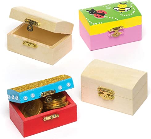 Baker Ross Cofres del Tesoro en Miniatura de Madera para Diseñar ...
