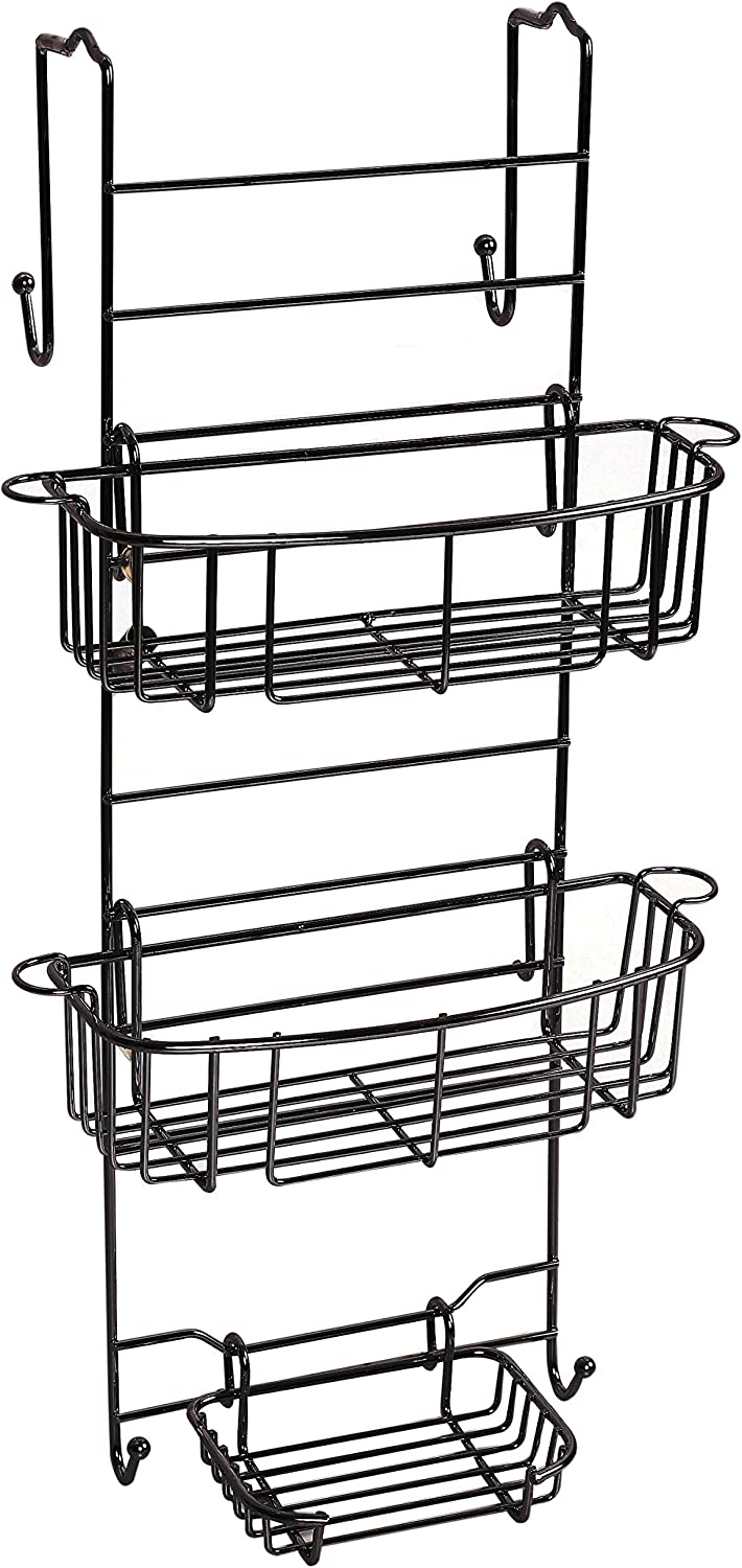 Zenna Home E7803HB Shower Caddy, 12 in W x 8.75 in D x 23 in H, Heritage Bronze