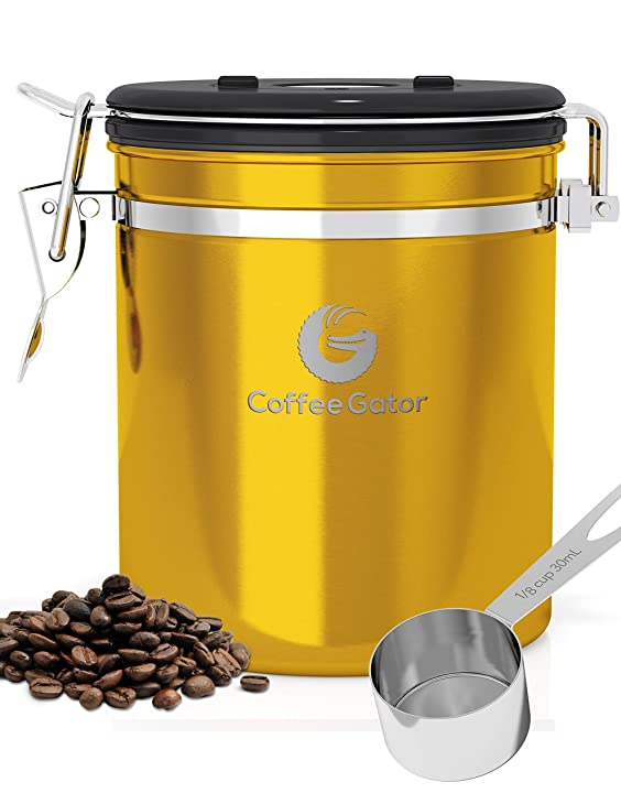 Coffee Gator Canister With Stainless Steel Scoop
