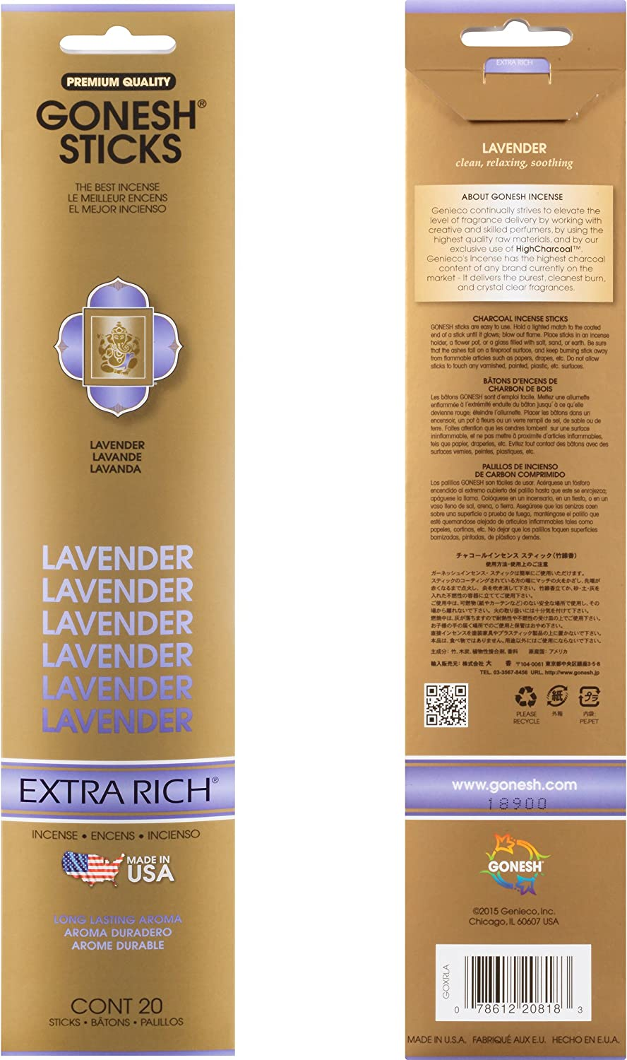 Gonesh Collection Lavender 4 Pack-Extra Rich Incense 80 Count