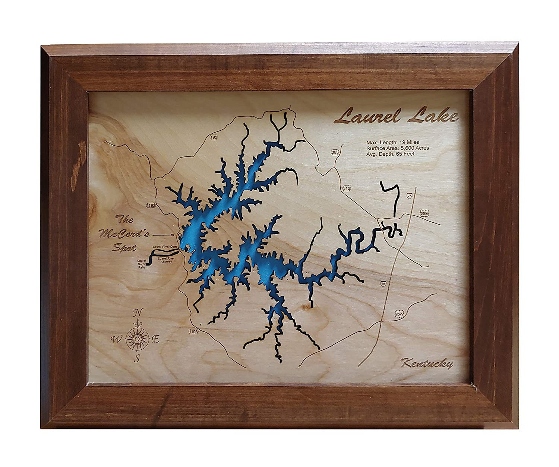 Amazon.com: Laurel River Lake, Kentucky: Framed Wood Map Wall ... on
