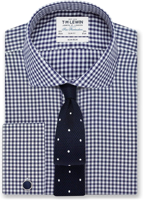 T.M.Lewin Camisa de Traje para Hombre, Ajustada, Cuello de ...