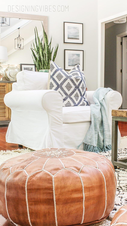 Pouf marocain Maison Marocaine pr/êts /à magie votre salon. Lot de 2 /étonnants coloris bronz/é clair pouf en cuir 100/% fait main poufs repose-pieds poufs ottomans