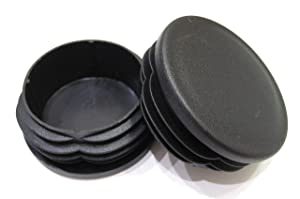 2pcs Pack: 2 1/2 Inch Round Black Plastic End Cap (for Hole Size from 2 1/4 to 2 3/8 inches), Cover for Steel Fence Post, Furniture Finishing Plug