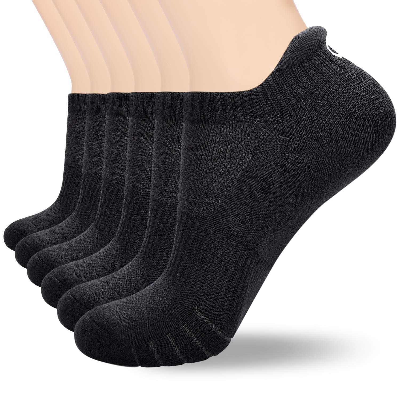 coskefy Low Cut Socks Mens Women Cotton Running Athletic Trainer Socks Non-slip Ankle Socks (6 Pairs)