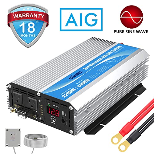 Pure Sine Wave Power Inverter 2200Watt DC 12 Volt to AC 120 Volt with 20A Solar Charger Control and Remote Control LED Display 2.4A USB Port for RV Truck Solar System