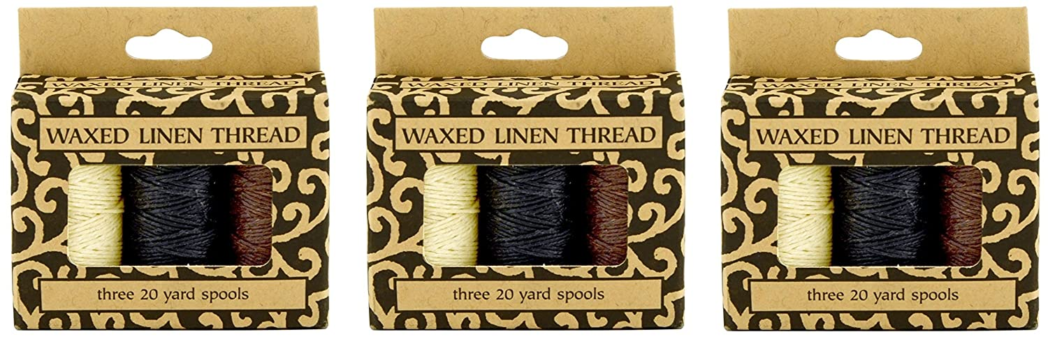 Lineco Natural, Brown, Black 20yds Each Waxed Linen 5 Ply Thread 3/Pkg (2 Pack)