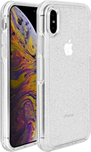 Legfes Symmetry Phone Protective Case, Clear iPhone Xs Case, Symmetry Clear Series Case for iPhone Xs Case, Anti-Drop Shock Absorption for Apple XS Case (iPhone Xs, Silver Flake/Clear)