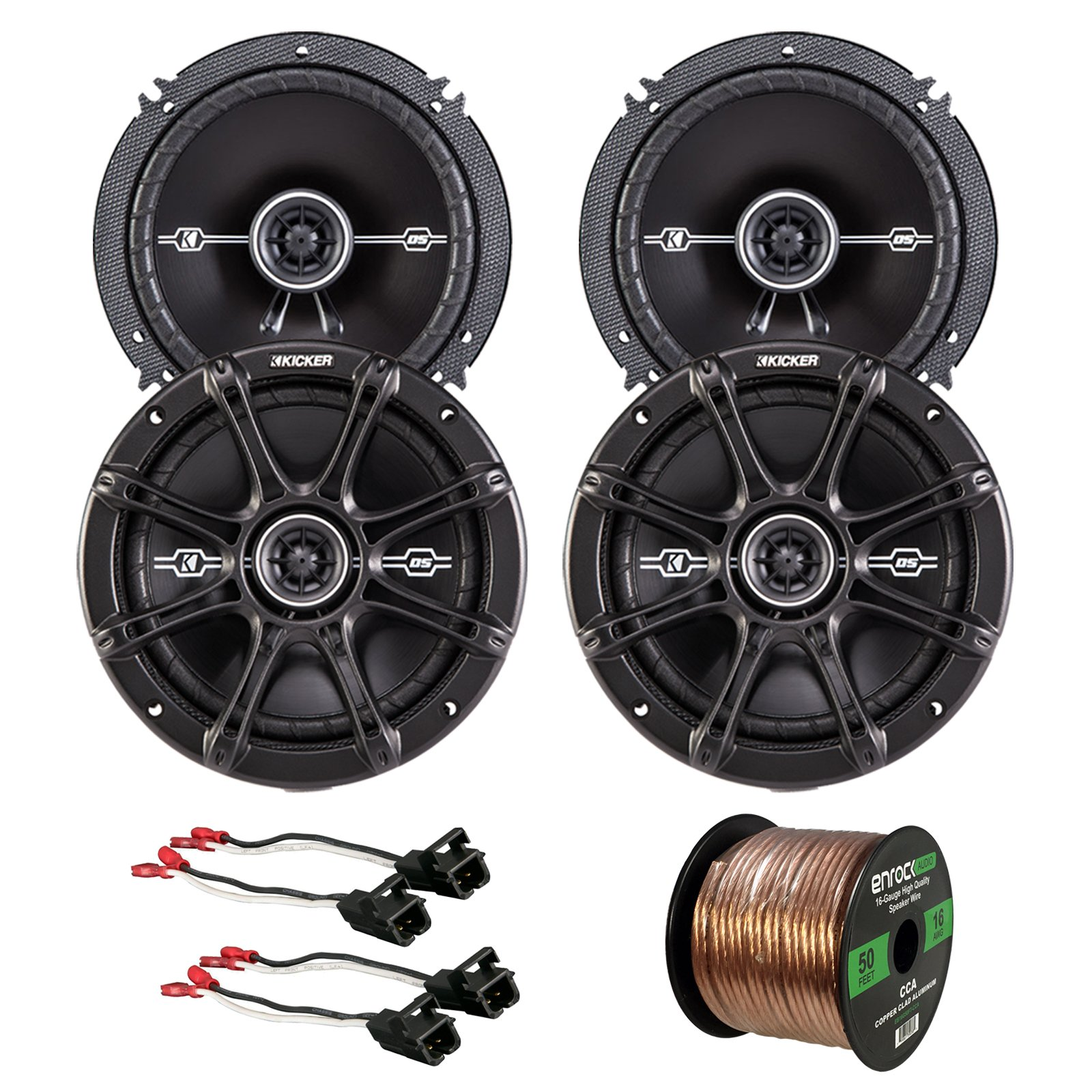 Car Speaker Bundle Combo: 2 Pairs of Kicker 43DSC6504 6.5'' Inch 480 Watts 2-Way D-Series Black Car Stereo Coaxial Speaker + Metra Speaker Wiring Harness + Enrock 50 Foot 16 Gauge Speaker Wire by EnrockAudioBundle