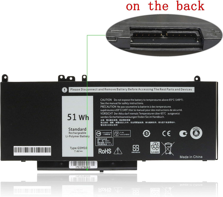 """Qiouzw G5M10 Laptop Battery for Dell Latitude E5450 E5470 E5550 Notebook 15.6"""", P/N: G5M10 6MT4T 7V69Y 0WYJC2 07V69Y TXF9M 079VRK 080-854-0066 1KY05 79VRK 8V5GX O79VRK OWYJC2 R9XM9 [7.4V 51WH]"""