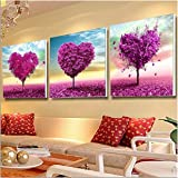Pack of 3 [Wooden Framed] Diy Oil Painting Paint by Number Kit for Adult - Main Shape Love Tree 20x20 Inch