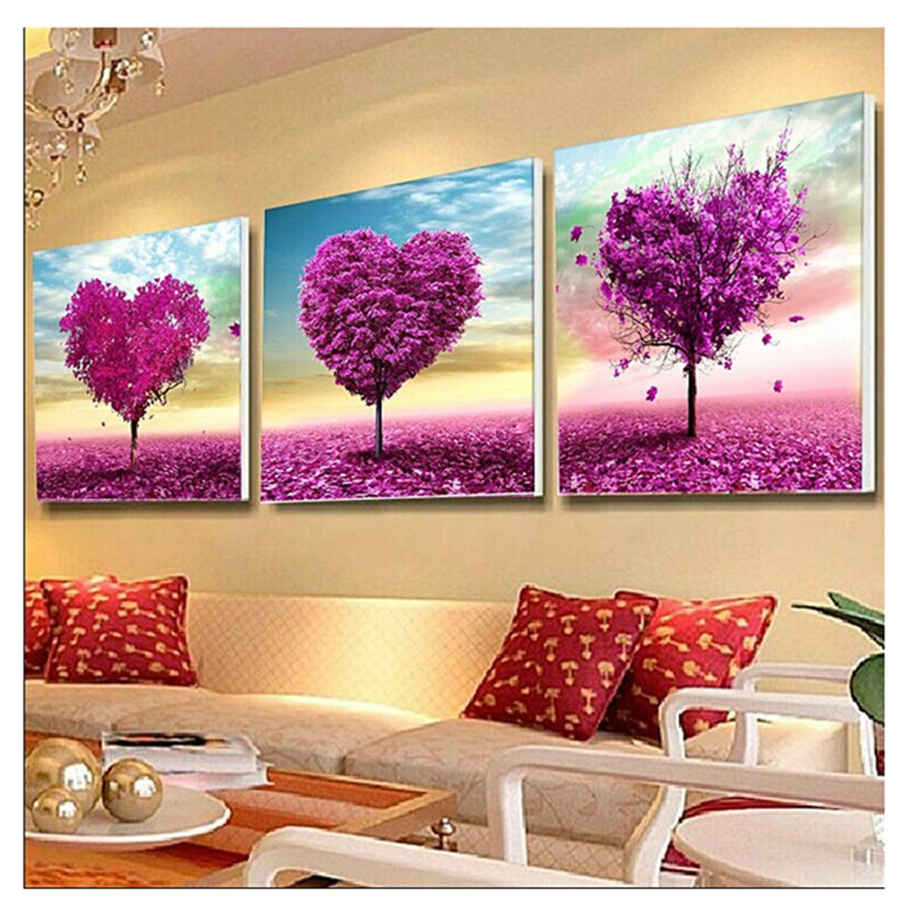 Pack of 3 [Wooden Framed] Diy Oil Painting Paint by Number Kit for Adult - Main Shape Love Tree 20x20 Inch by YXQSED