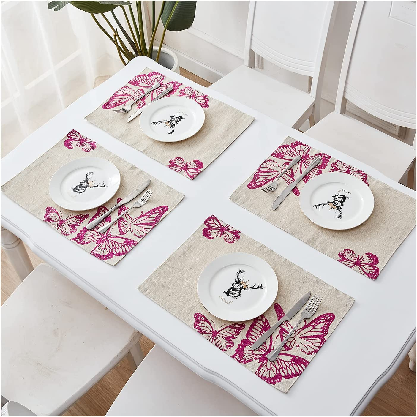 Snieut Rustic Placemats Set of 4, Vintage Style 2-Layer 18 x 12 Inch Table Mats with Pink Butterfly Pattern for Dining Table Decor, Holiday Party, Coffee Time, Outdoor and Indoor