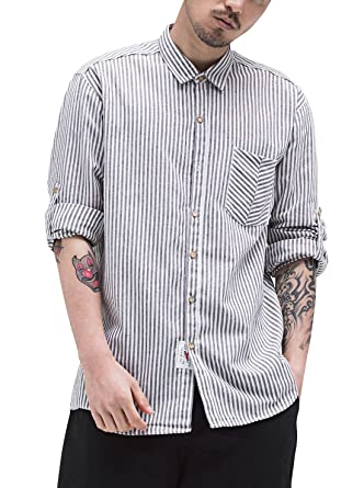 01a7ac0ac AIEOE Mens Linen Cotton Shirt Solid Stand Collar Top Loose Strip Blouse  Business Shirt Brown M. Roll over image to zoom in