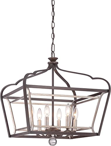 Minka Lavery Pendant Lantern Ceiling Lighting 4348-593, Astrapia Large, 6 Light, Dark Rubbed Sienna