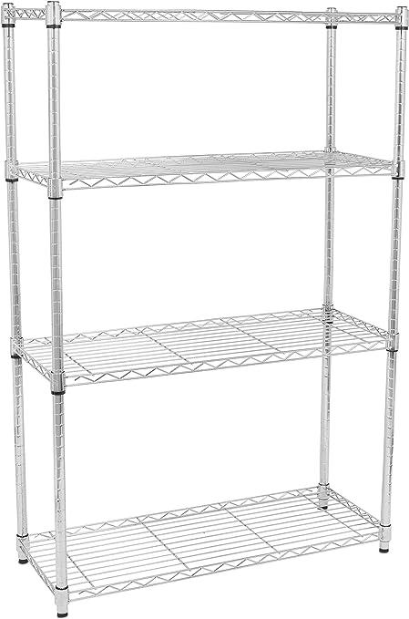 3//4//5 Tier Wire Unit Shelving Rack Heavy Duty Chrome Shelf Adjustable Organizer
