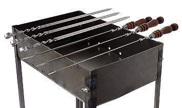Barbacoa Desmontable - Modelo Mediano - Tipo Mangal Ruso - Con 6 Pinchos de Metal y un accesorio para el Fuego: Amazon.es: Jardín