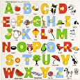 Skillofun Wooden Capital Alphabet Tray with Picture with Knobs, Multi Color