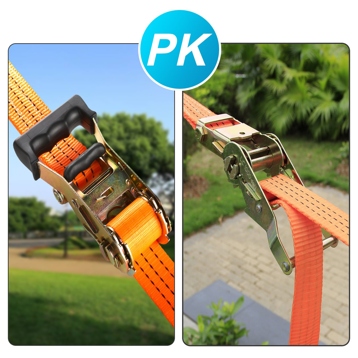 PACKGOUT Slackline, 45' Obstacles Course for Kids Warrior Training Equipment Swing Hanging Monkey Bar Kits, Gifts for Boys and Girls Included Carrying Bag and Tree Protectors by PACKGOUT (Image #5)