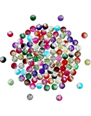 ddd54fd6c9fb 200 Piezas 8 mm de Abalorios de Cristal Rajado Coloridos Cuentas Redondas  de Vidrio para Fabricación