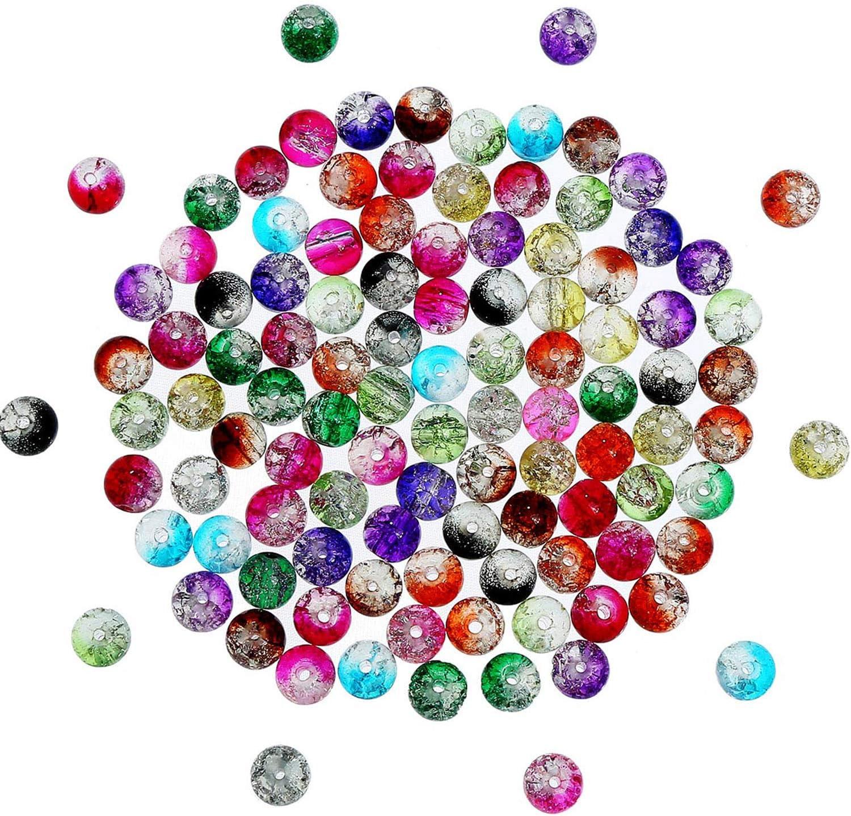 200 Piezas 8 mm de Abalorios de Cristal Rajado Coloridos Cuentas Redondas de Vidrio para Fabricación de Bisutería y Artesanía