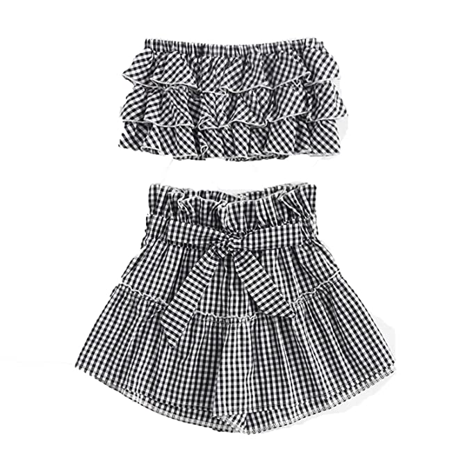 Amazon.com: Tiered Frill Gingham Bandeau Top con pantalones ...