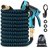 Amayrose Garden Hose Expandable Water Hose with 9 Function Spray Nozzle, Leakproof Expanding Flexible Outdoor Yard Hose with Solid Brass Fittings, Extra Strength 3750D Durable Car Wash Hose Pipe(25ft)