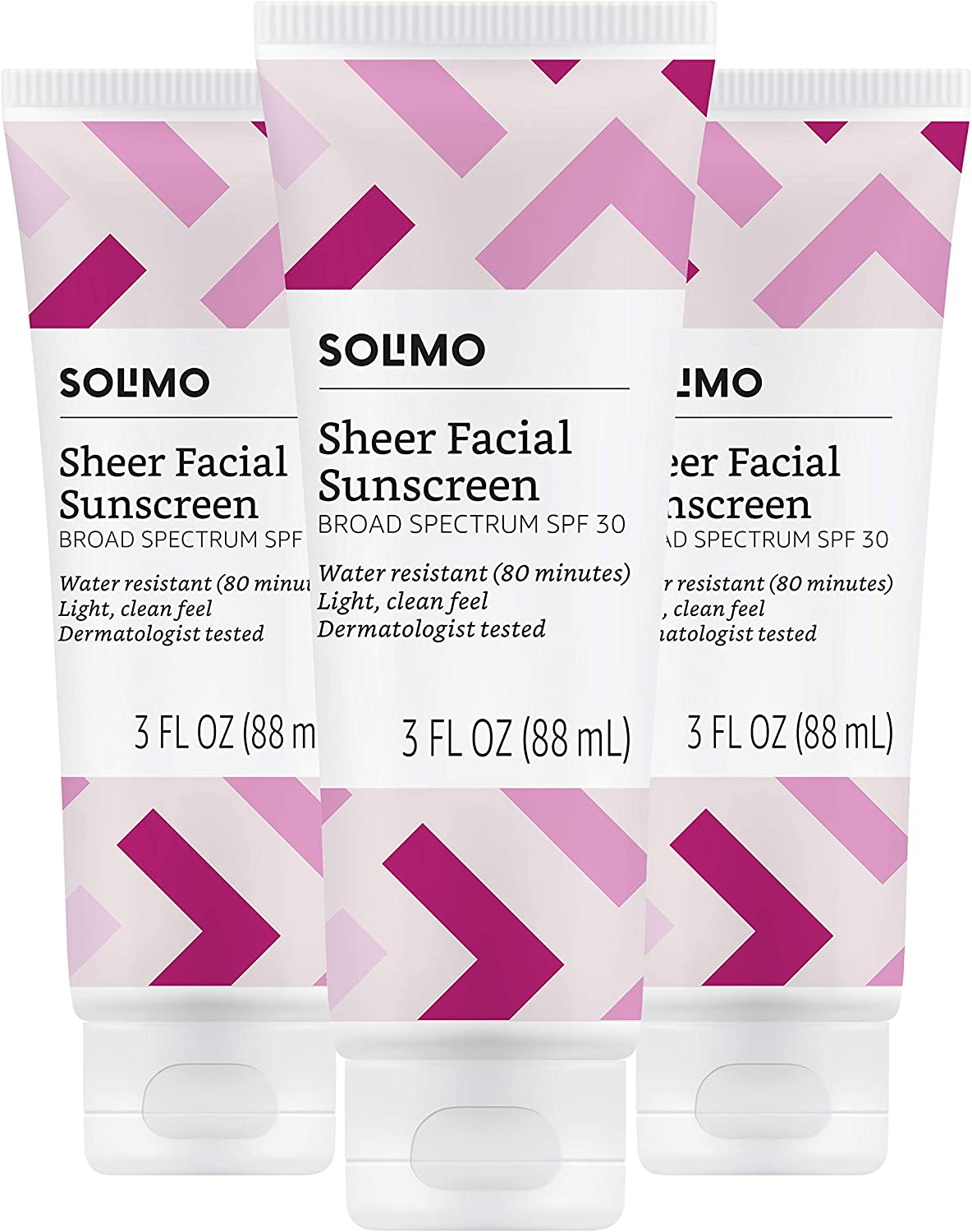 Amazon Brand - Solimo Sheer Facial Sunscreen SPF 30, 3.0 Fluid Ounce (Pack of 3)