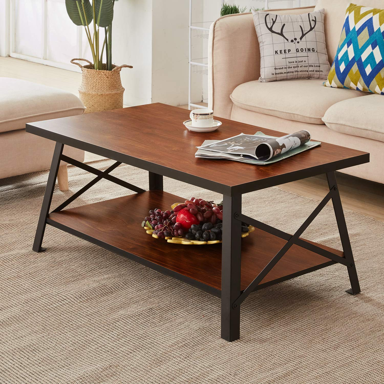 Wondrous Vecelo Vintage Coffee Table For Living Room Rustic Cocktail Table With Storage Open Shelf Black Metal Frame Brown Uwap Interior Chair Design Uwaporg