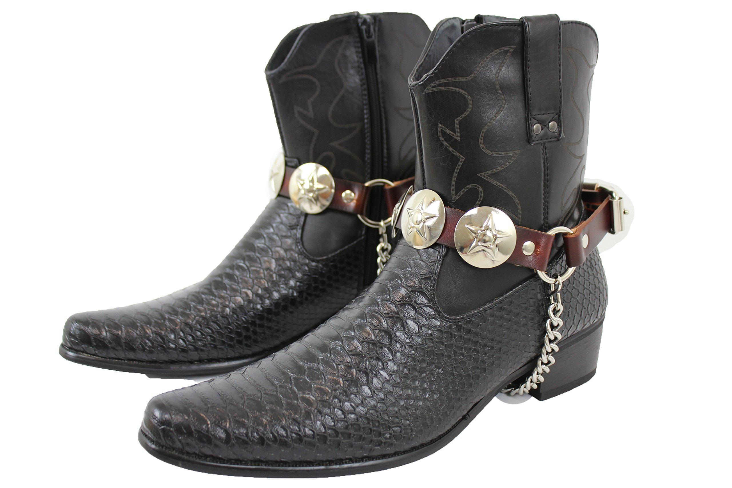 TFJ Men Biker Jewelry Boots Brown Leather Pair Straps Silver Metal Chains Texas Lone Star Charm
